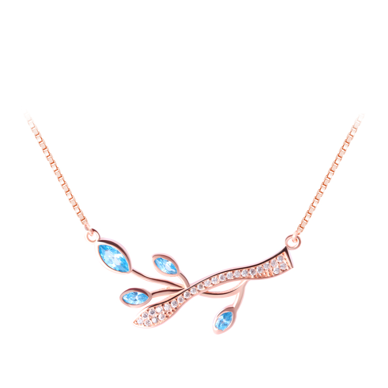 18'' Rose gold plated with multi color crystal lucky olive branch fashion necklace