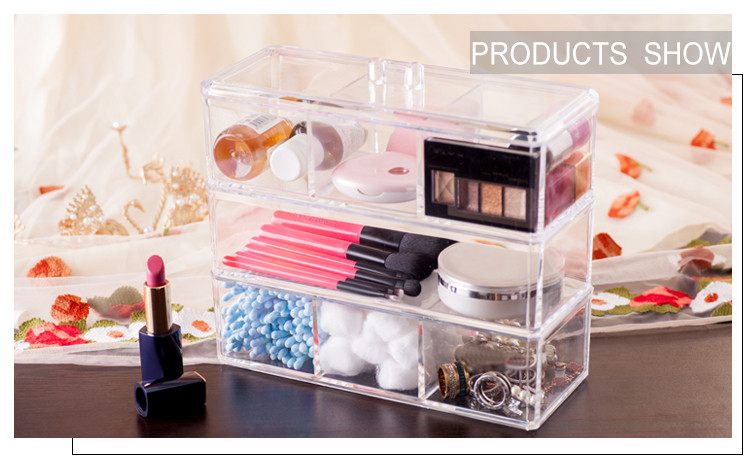 Fashion 3 layer Divided Clear Plastic Compartment Stackable Makeup Cosmetic Acrylic Storage Box With Lid