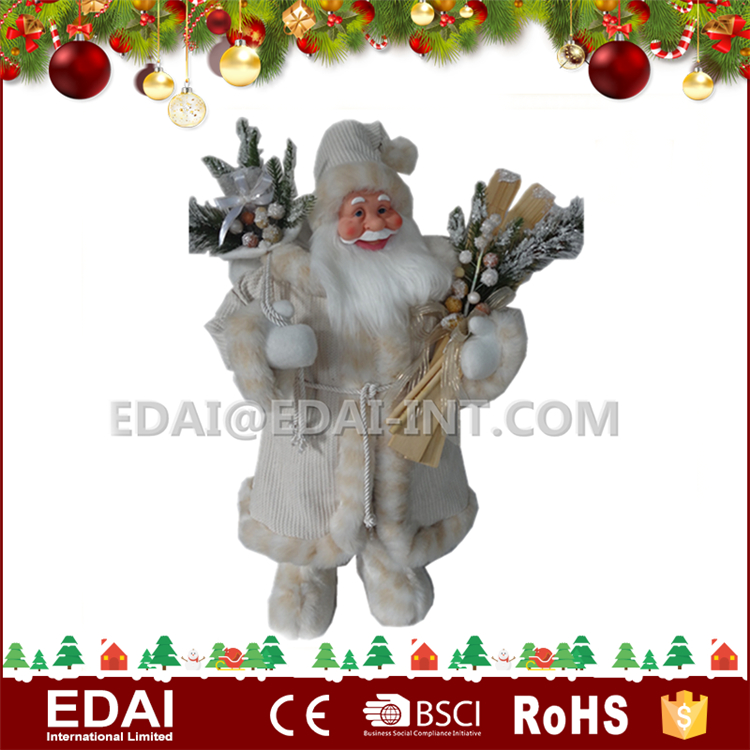 High quality fabric indoor christmas statue decoration standing wholesale santa claus