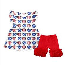 New Baby New Design Kids Clothing Set Glasses Printed Cute Children Suits Icing Shorts Cotton Wear