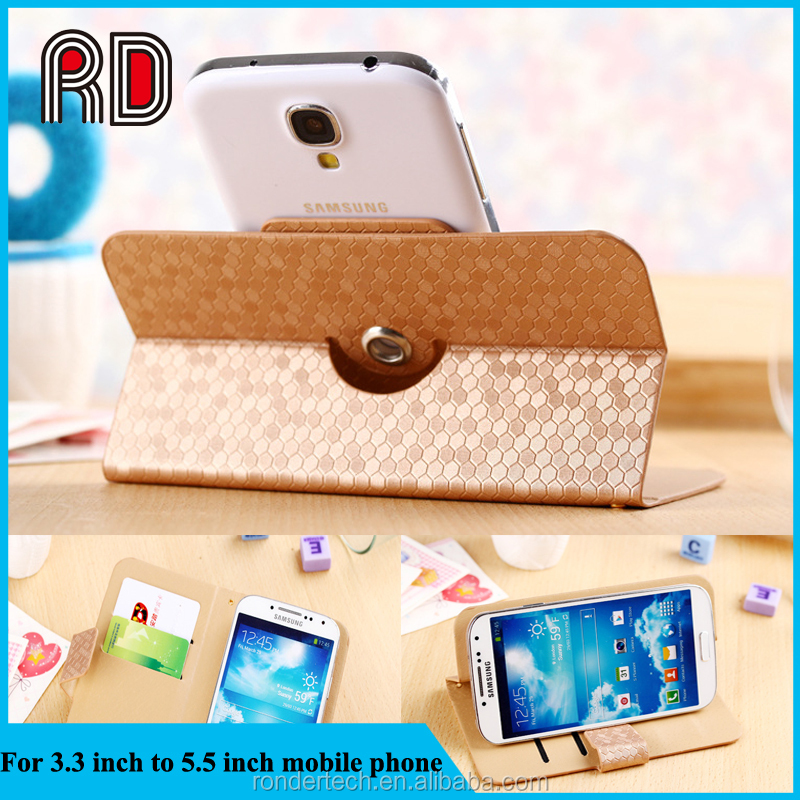 New product Diamond Pattern 360 degrees rotation universal Flip wallet leather case for 3.3 Inch to 5.5 Inch mobile phone
