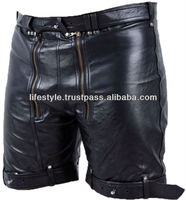Bondage Shorts Fetish Leather Shorts Fetters Max-Security Locking Up-Front Shorts Under chaps, Laced Front Pouch Leather Cargo S