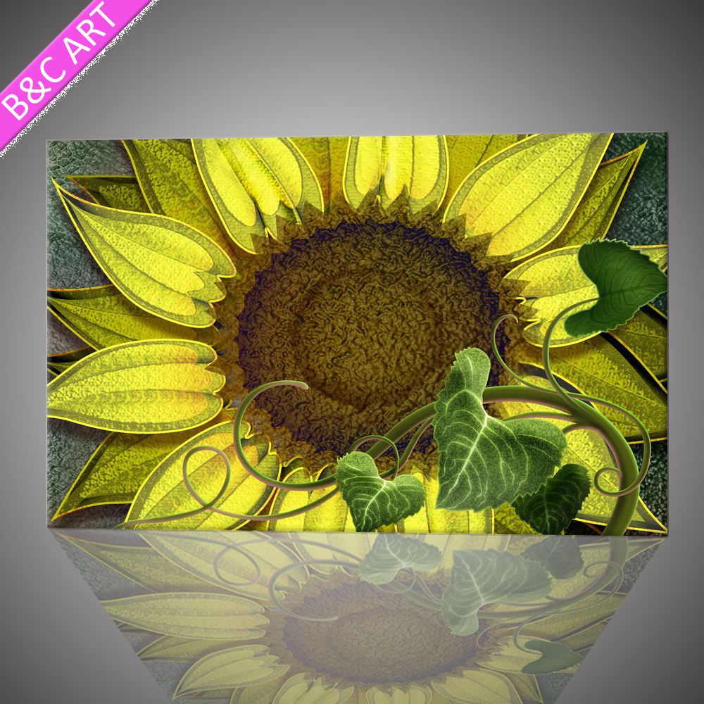 Sunflower canvas prints cheap china wall glass painting pictures of flowers
