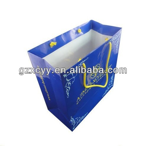 2014 new design Paper Shopping Bag with gloss lamination