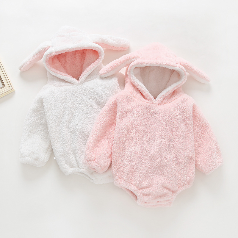 Newborn Winter Clothing Baby Coral velvet Rabbit's Ear Long-sleeved Jumpsuit White Pink Infant Bunny Hooded Bodysuit for <strong>0</strong>-3 <strong>Y</strong>