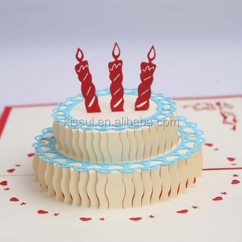 Laser cut handmade 3D birthday cake design greeting card