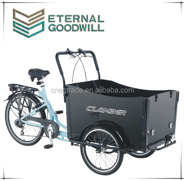 High quality three wheel cargo bike/cargo tricycle/reverse trike UB9019 with front wooden box for sale