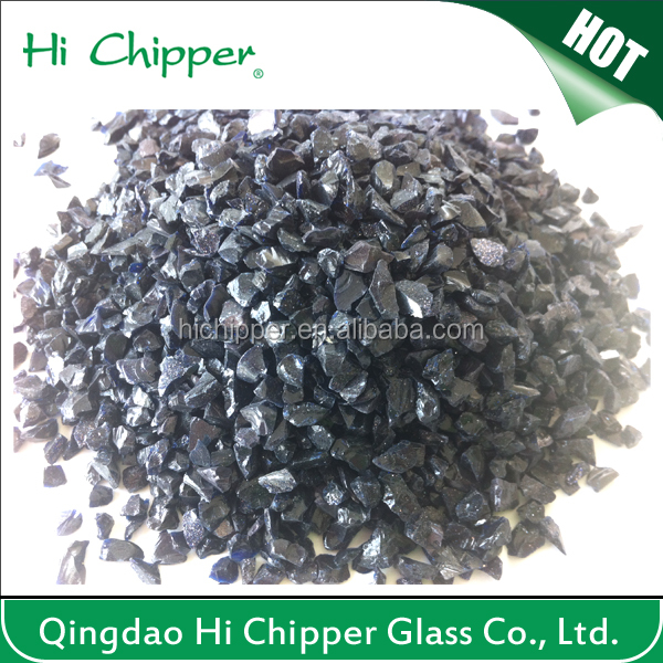 Black colored terrazzo artificial stone and garden decoration opaque glass chips