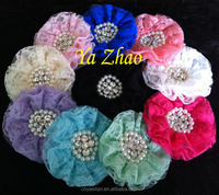 4'' Fashion Lace Flower Sewn Rhinestone Pearl for headbands, clothing ,dress 11 Color IN STOCK