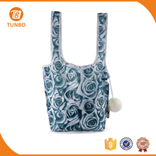 wholesale rose flower pattern plastic reusable woven shopping bags