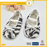 Hot selling new style zebra-stripe newborn fabric soft sole baby baba dress shoes