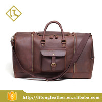 Oversized Travel genuine cow leather Tote Luggage Weekend Duffel Bag