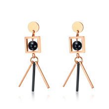 Stainless Steel Geometric Design Trendy Rose Gold Color Stick Drop Earrings For Women Jewelry