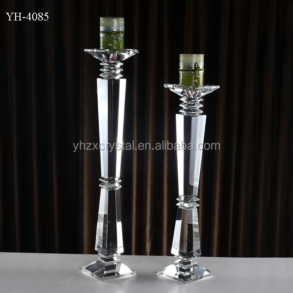 mirror reflective glass candle holder pillar crystal candlestick