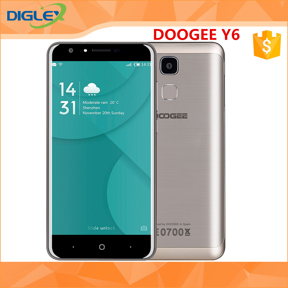 New arrival Doogee Smart Phone Doogee Y6 MTK6750 Octa Core Android 6.0 5.5 inch 1.5GHz 2GB 16GB 13.0MP Cam Cell Phone