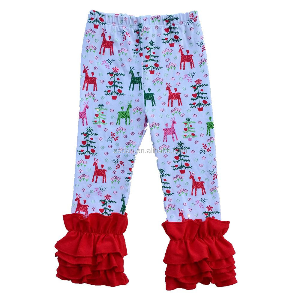 Christmas Deer Print baby girls icing Red ruffle pants Leggings
