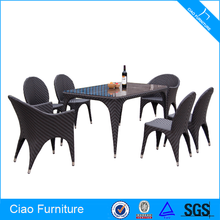 Outdoor aluminum rattan table and chairs with glass on top