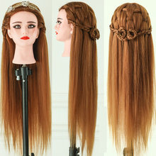 wholesale doll head professional hairdress silky straight practice life size make up mix synthetic hair training mannequin heads