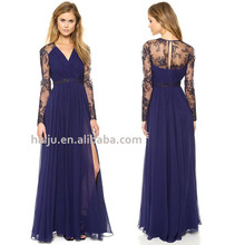 Hot sale lace embroidered splice chiffon long sleeve maxi prom dress