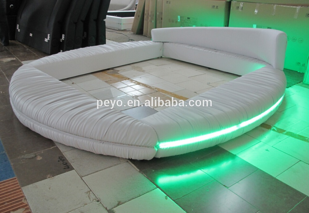2016 white Modern Round <strong>bed</strong> with led light bedroom furniture circular <strong>beds</strong> frame