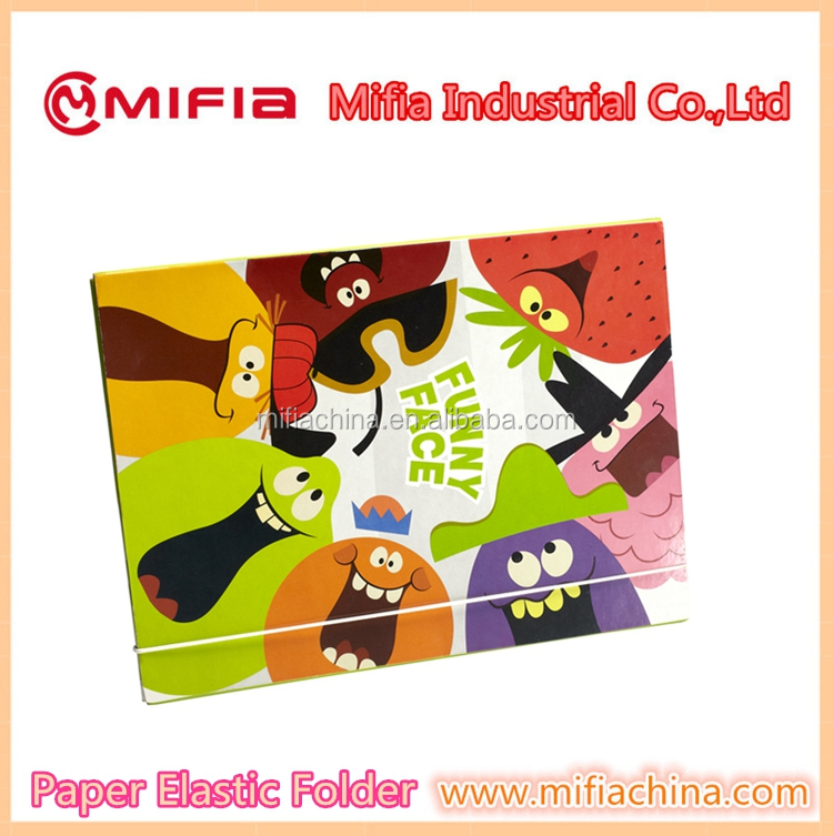 Office handmade paper cardboard 3 flaps a4 fc size printed file folder with elastic bands