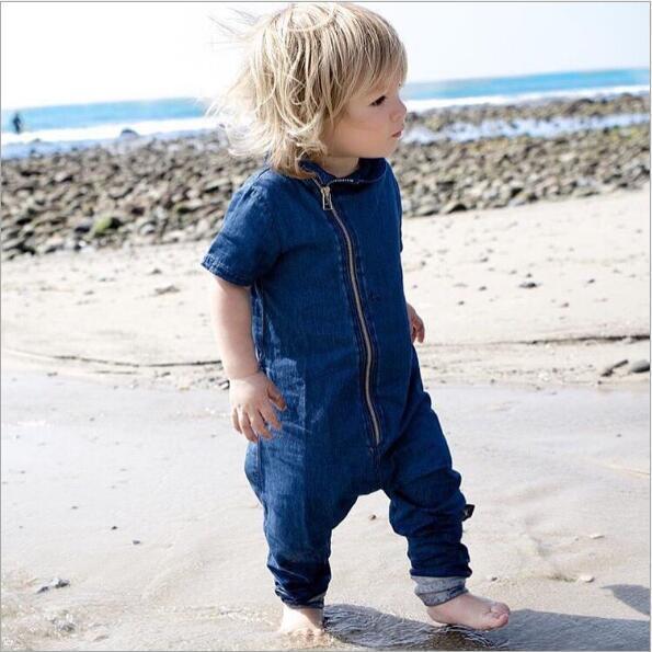 2017 Plain Romper Baby Boutique Clothes Blank Bodysuit Denim irregularity Romper