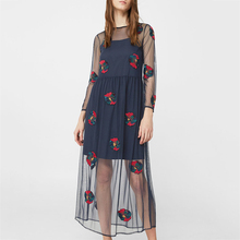 Women one piece summer dress 2017 long sleeve maxi mesh tulle dress