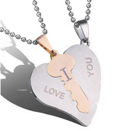 I love you pendants couple pendant necklaces heart key pendant necklaces jewelry Stainless steel chain lovers long necklaces