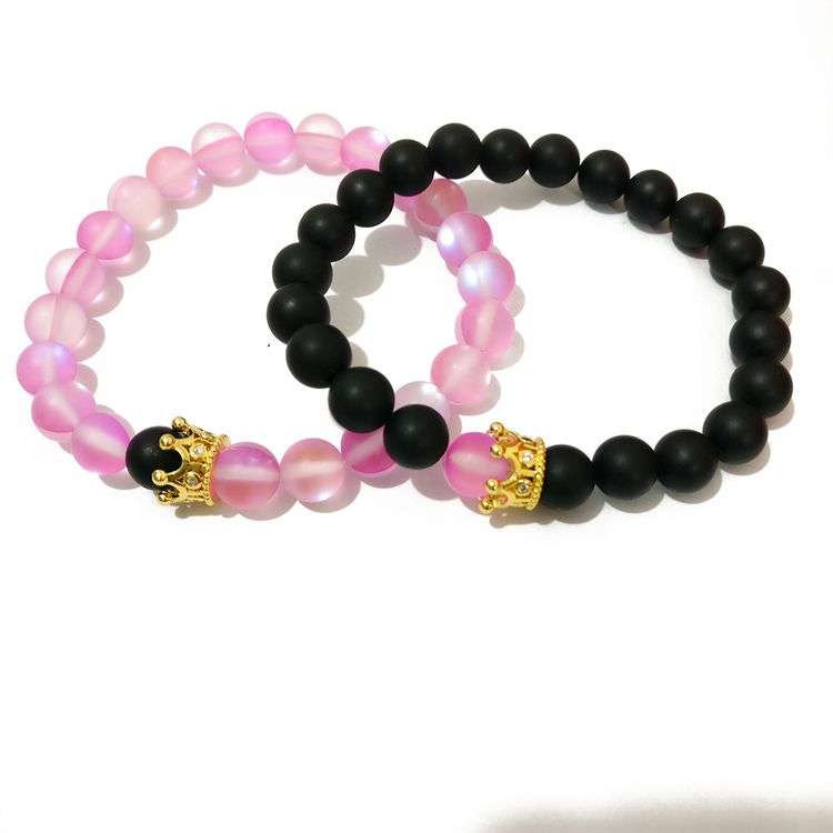 2019 New Design Customized Crown Charm Black Agate Glass Aurora Bead Distance Bracelet for Couple