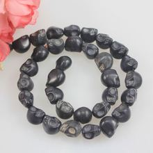 High Quality Smooth Round Wholesale 12mm Black Skull Turquoise Beads Genuine Natural Stone Beads For Jewelry Making