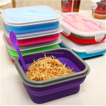 Amazon Best Sell Silicone Foldable Food Storage Box Collapsible Lunch Box