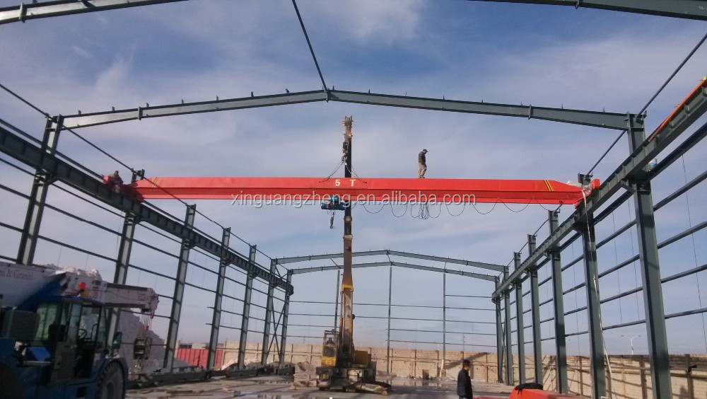 Algeria low cost steel structure workshop with crane