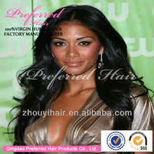 natural black short style lace front human hair wigs with parts