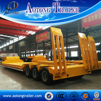24 tires 100 ton lowboy semi trailer, 800mm height low loader semi trailer for sale