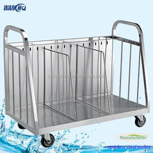 Commercial Stainless Steel Glasses Tray Storage Cart/Tray Clearing Trolley/Industrial Glass Storage Carts