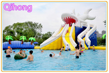 Giant inflatable water park play equipment, inflatable aqua park with bouncy slide, water park for sale