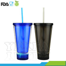 16oz Party Gifts Plastic Light Up Bright Tumbler with Straw