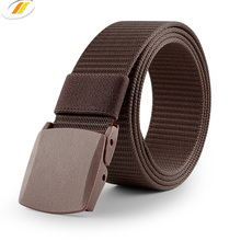 Knitting Canvas Material Men's Waist Belt With Plastic Buckle