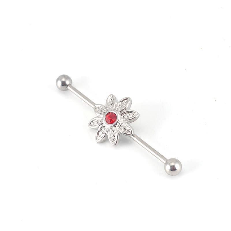 Fashion earrings piercing jewelry 14G flower gem stone stainless steel industrial barbell