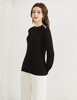 Women's Computer Knitted narrow neck pullover knitted sweater with bell long sleeves for ladies