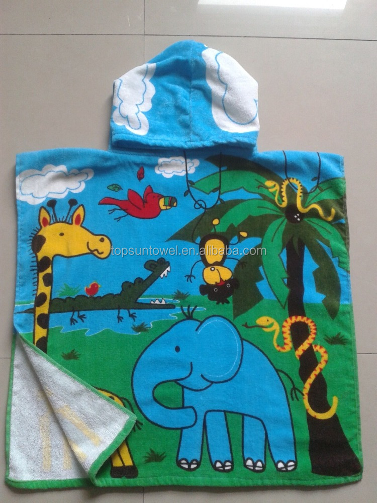 100% cotton children/baby/kids printed hooded poncho towel