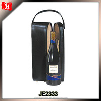 High quality Luxury Monogrammed Black Leather Single Wine Carrier