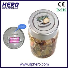 digital coin counting money saving tin can
