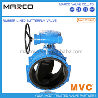 Hot selling rubber ptfe pfa lined type wrench or lever and gear operation manual butterfly valves
