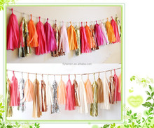 European Market Popular Party Decoration, wedding decoration Colorful DIY Party Favor Tissue Paper Tassel Garlands