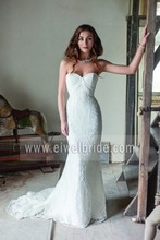 S1853 New arrival sweetheart ruffles sheath lace sexy indian wedding dress