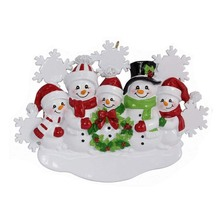 Christmas snowman family resin holiday time ornament