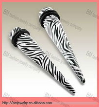 zebra printed UV cheap ear gauge plugs body jewelry ear expanders piercing