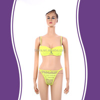 Yellow sets no pilling cozy cute decorative night sexy bra panty set