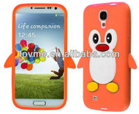 Orange 3D Cute Penguin Soft Silicone Gel Rubber Case Cover Skin for Samsung Galaxy S4 I9500